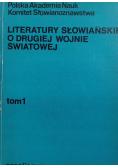 Literatury Słowiańskie o drugiej Wojnie Światowej Tom I