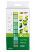 Farby akrylowe 12ml 10 kol zielony HAPPY COLOR