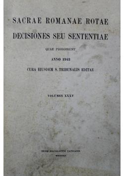 Sacrae Romanae Rotae Decisiones Seu Sententiae Volumen XXXV 1943 r