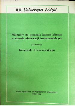 Materiały do poznania historii klimatu w okresie obserwacji instrumentalnych