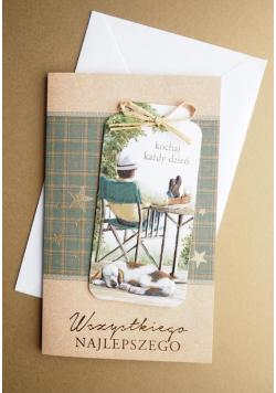 Karnet Życzenia z zakładką do książki + koperta