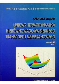 Liniowa termodynamika nierównowagowa biernego transportu membranowego