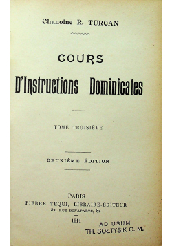 Cours Dinstruction dominicales tom III 1911r