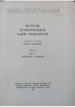 Słownik staropolskich nazw osobowych tom VI zeszyt 1