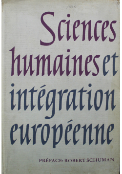 Sciences Humaines et Integration Europeenne
