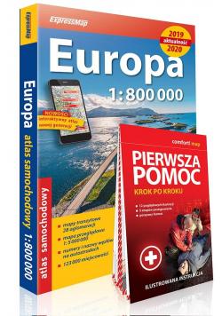 Atlas samochodowy Europa 2019/2020 +pierwsza pomoc