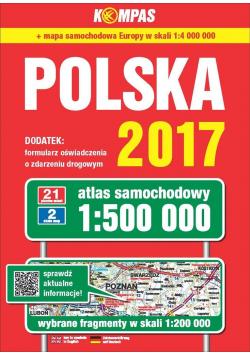 Atlas samochodowy Polski kompas 1:500 000 w.2017