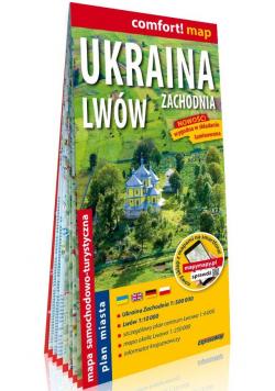 Ukraina Zachodnia i Lwów; laminowana mapa samochodowo-turystyczna 1:500 000, laminowany plan miasta