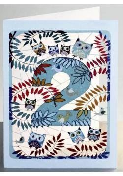 Karnet PM792 wycinany + koperta Urodziny 2 sowy
