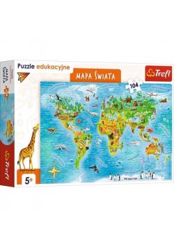 Puzzle Edukacyjne 104 Mapa Świata dla dzieci TREFL