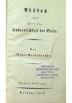 Phädon oder über die Unsterblichkeit der Seele 1818 r.