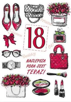 Karnet Party naklejany B6+koperta Urodziny 18 wz09