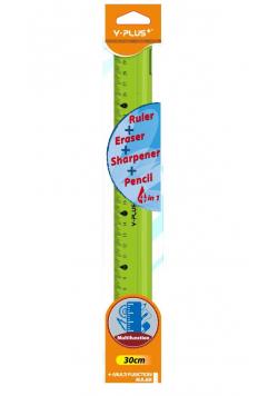 Linijka 4w1 30cm Linijka gumka temperówka ołówek