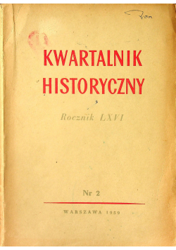 Kwartalnik historyczny rocznik LXVI nr 2