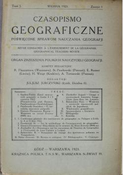 Czasopismo Geograficzne Tom I 1923 r.