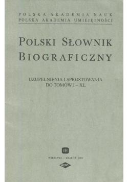 Polski Słownik Biograficzny Uzupełnienie i sprostowania do tomów I - XL