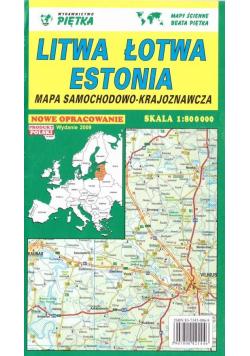 Litwa, Łotwa, Estonia 1:800 000 mapa samoch.-kraj.
