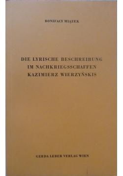 Die lyrische beschreibung im nachkriegsschaffen Kazimierz Wierzyńskis
