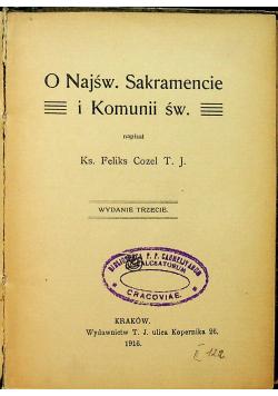 O Najśw Sakramencie i Komunii św 1916 r.