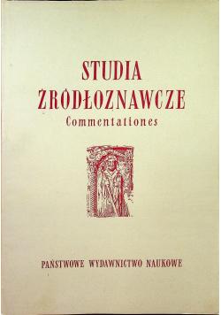 Studia źródłoznawcze Commentationes tom II