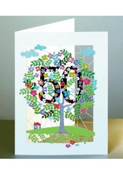 Karnet PM150 wycinany + koperta Urodziny 50