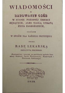 Wiadomości o ratowaniu osób Reprint z 1839 r