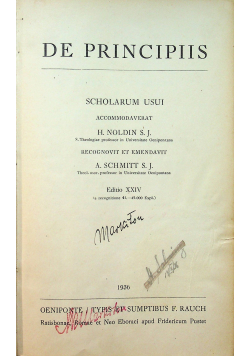 De Principiis 1936 r.