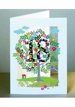 Karnet PM118 wycinany + koperta Urodziny 18
