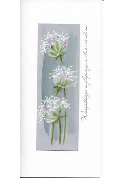 Karnet Urodziny DL U03 - Białe kwiaty