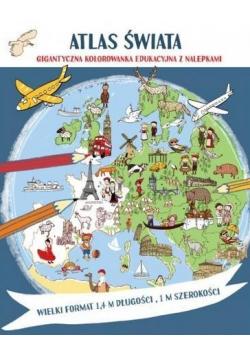 Atlas świata Megakolorowanka edukacyjna z naklej.