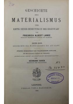 Geschichte Des Materialismus Und Kritik Seiner Bedeutung in Der Gegenwart 1896 r.