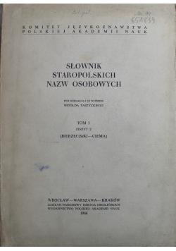 Słownik staropolskich nazw osobowych Tom I Zeszyt II