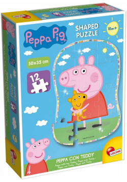 Puzzle 12 Kształty - Świnka Peppa i Teddy