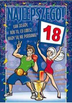 Karnet Party naklejany B6+koperta Urodziny 18 wz13