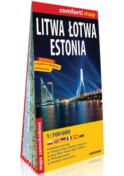 Litwa Łotwa Estonia; laminowana mapa samochodowa 1:700 000