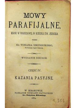 Mowy parafijalne Część IV Kazania pasyjne 1884 r.