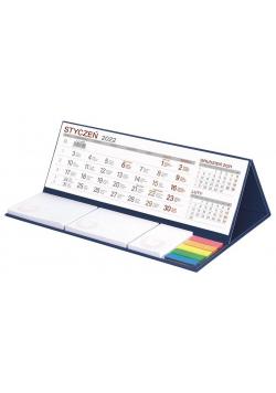 Kalendarz 2022 biurkowy z notesem MAXI granatowy
