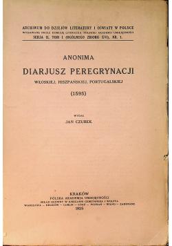 Anonima Diarjusz Peregrynacji Włoskiej Hiszpańskiej Portugalskiej 1595 1925 r