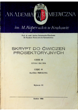 Skrypt do ćwiczeń prosektoryjnych część III i IV
