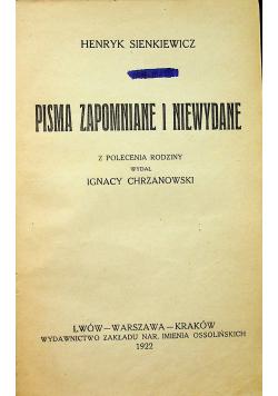 Pisma zapomniane i niewydane 1922 r