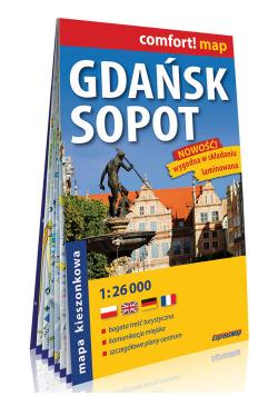 Gdańsk Sopot kieszonkowy laminowany plan miasta 1:26 000