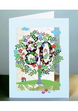 Karnet PM180 wycinany + koperta Urodziny 80