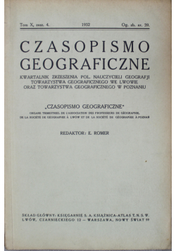 Czasopismo geograficzne Tom X zesz 4 1932 r.
