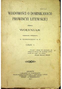 Wiadomości o Dominikanach Prowincyi Litewskiej Część I 1917 r.