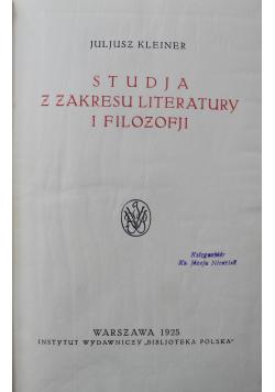 Studja z zakresu literatury i filozofji 1925 r.
