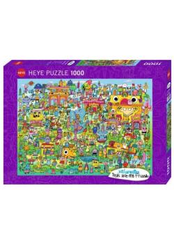 Puzzle 1000 Wioska pełna Doodli, Jon Burgermann