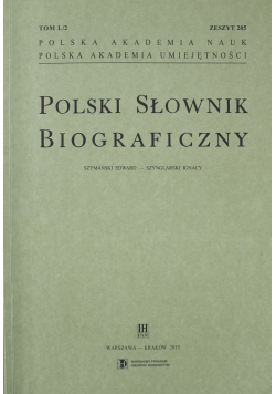 Polski Słownik Biograficzny Zeszyt 205