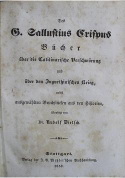 Des Gajus Sallustius Crispus  Des Cornelius Repos  1858 r