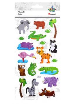 Naklejki wypukłe zwierzęta safari 19szt