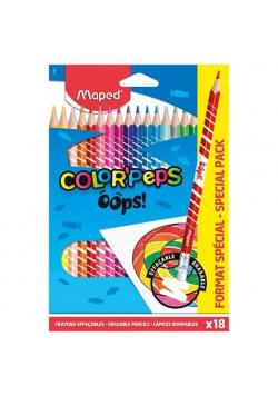 Kredki Colorpeps Oops trójkątne z gumką 18kol